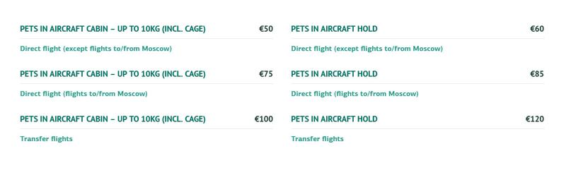 traveling with pets on cyprus airways prices